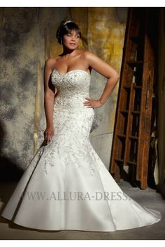 Sweetheart Chapel Train Satin Trumpet Mermaid Plus Size Wedding Dress 11013044 - Plus Size Wedding Dresses - Wedding Dresses