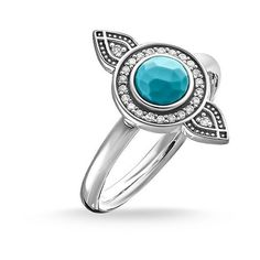 """THOMAS SABO Women Ring ring """"ethno dreamcatcher"""" 925 Sterling Silver, Blackened Zirconia Pavé White, Simulated Turquoise Silver-coloured, Turquoise - The Sterling Silver Com Thomas Sabo, Turquoise Rings, Turquoise Bracelet, Green Turquoise, Silver Color, Sterling Silver Rings, Gemstone Rings, Women Jewelry, Jewelry Rings"""