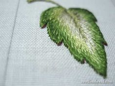 Long & Short Stitch embroidered leaf