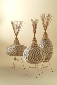 Biobject for J. P. Mesmin lamp 'Nacelles' by designer Tony Gonzalez. Paper fiber, aurog solar system. ty, contemporary basketry. via VIA