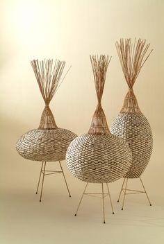 Biobject for J. P. Mesmin lamp 'Nacelles' by designer Tony Gonzalez. Paper fiber, aurog solar system. ty, contemporary basketry. via VIA