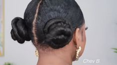 Low Double Space Buns ✨ - Clara Wish Natural Hair Updo, Curly Hair Tips, Curly Hair Styles, Natural Hair Styles, Flower Girl Hairstyles, Afro Hairstyles, Hairstyles Videos, Space Buns, Pixie Haircut