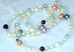 Faceted White and Colored Pearl Beaded Eyeglass Necklace or ID Name Badge Lanyard by nonie615, $20.00