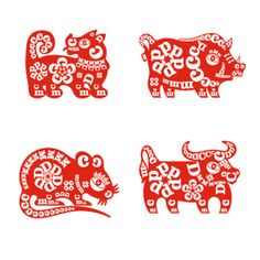 DCM Lunar New Year Logo System--inspiration..red and white and patterns from letters