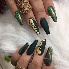 Green gold Slytherin Nails