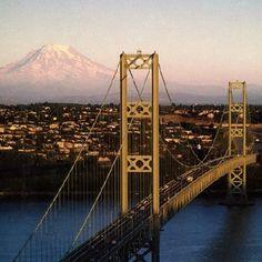 Tacoma #Narrows Bridge #Mt. Rainier #City