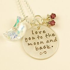 Love you to the Moon and Back Hand Stamped Necklace by AnnieReh, $55.00. I want! I want! I want! This is one of my favorite books.