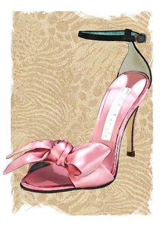 Pink Satin Ankle Straps on Safari by Elaine Plesser Fashion Moda, Fashion Art, Fashion Shoes, Vintage Fashion, Fashion Design, Shoe Sketches, Fashion Sketches, Pretty Shoes, Pretty In Pink