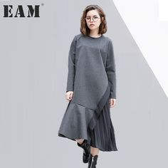 [EAM] 2017 new autumn winter round neck long sleeve pleated split joint solid color loose dress women fashion tide JD22201