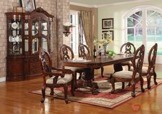 Windham Formal Dining Set Cherry Wood Carved Table & Chairs