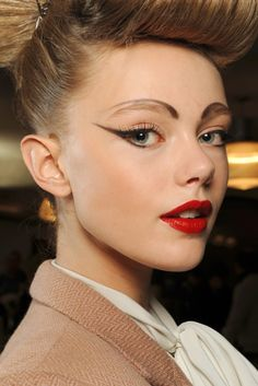 Contemporary catwalk take on classic 1940's makeup