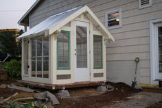 View our beautiful Seattle greenhouses and shed made from beautiful reclaimed and new material. Customize your vintage backyard greenhouse. Window Greenhouse, Greenhouse Shed, Greenhouse Gardening, Garden Buildings, Garden Structures, Outdoor Structures, Craftsman Sheds, Craftsman Homes, Outdoor Spaces