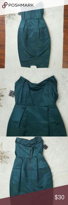 NWT Nasty Gal Satin Midi Strapless Dress Beautiful teal satin midi dress by Nasty Gal. Strapless Bateau neckline with bubble hip design. Size: small  Color: teal blue green Nasty Gal Dresses Strapless