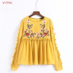 Find More Blouses & Shirts Information about YSMILE Y Women Fashion Autumn Shirt Flowers Embroidered Tulle Loose Casual Long Sleeve Blouse Shirt,High Quality Blouses & Shirts from Tryow Store on Aliexpress.com
