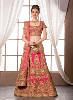 Pink latest raw silk Indian bridal ghagra with embroidered choli