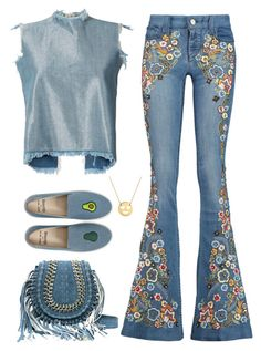 """""""Denim + Emoji"""" by turtle03 ❤ liked on Polyvore featuring Marques'Almeida, Alice + Olivia, Soludos and Jane Basch"""