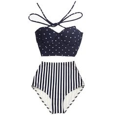 Navy Blue Polka Dot Midkini Top and Stripe Striped High Waisted Waist... ($40) ❤ liked on Polyvore featuring swimwear, bikinis, black, women's clothing, retro bikini, retro bathing suits, polka dot swimsuit, swimming costume and high-waisted bathing suits