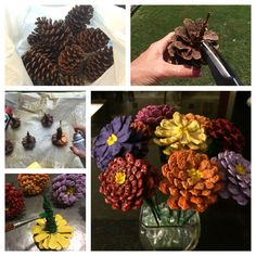 Pinecone Zinnias - Easy, cheap, and stay pretty all year long.