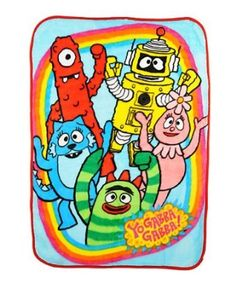 Yo Gabba Gabba Friends Rock Plush Soft Throw Blanket - Muno Brobee Plex Foofa