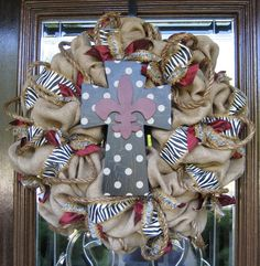Natural Jute BURLAP WREATH with Polka Dot CROSS
