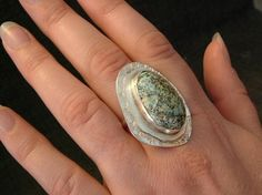 Large Blue, White and Black Utah Deposit Turquoise, Fine Sterling Silver Size 10 Ring   124G