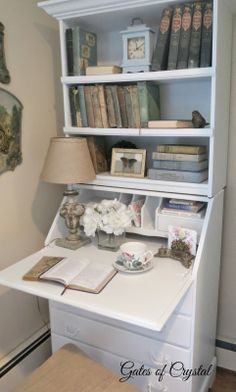 Gates of Crystal: My New Secretary Desk Makeover, Furniture Makeover, Home Furniture, Furniture Ideas, Painted Secretary Desks, Secretary Desk With Hutch, Armoire Cabinet, Armoire Redo, Desk Inspiration