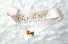 Rose and Gold Glitter Bachelorette Sash  Custom by GoldandGlamour