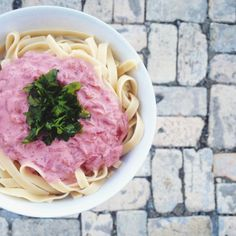Vegan Stroganoff, made with beets. Consider cashew cream instead of cheese substitute
