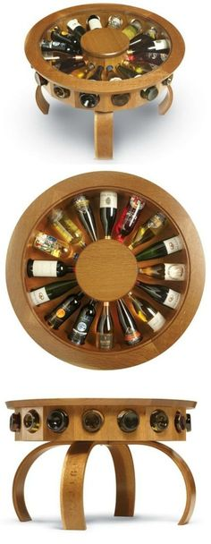 The Don Vino wine table is an original design, inspired by the oak barrels that line the cellars of the Finger Lake's regional wineries. #woodworkingideas
