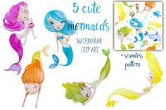set with watercolor mermaids - Illustrations - 1