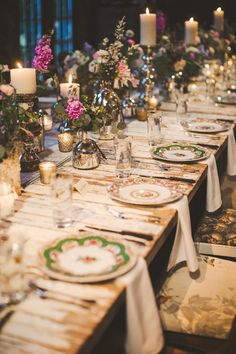 Wedding Table decor with vintage plates