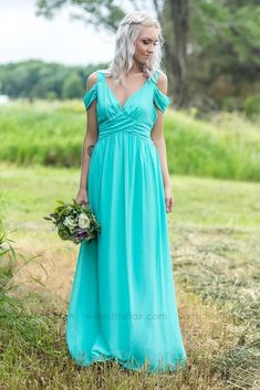 Long Off Shoulder Mint Bridesmaid Dress for Country Wedding