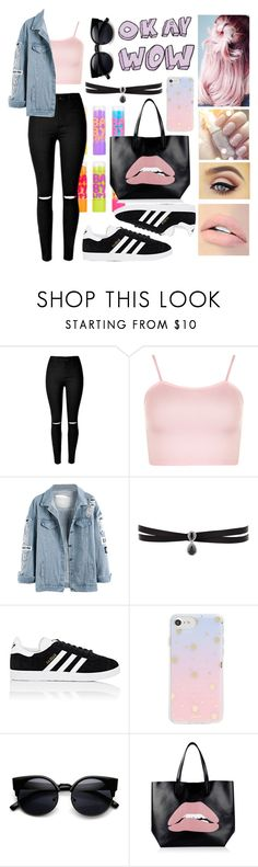 """""""Put your lips on mine and love the after taste"""" by happinesspeaceandlove ❤ liked on Polyvore featuring Maybelline, WearAll, Fallon, adidas, Sonix, RED Valentino and Jouer"""