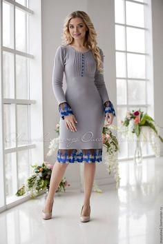 """Купить Платье """"London"""" - серый, вязаное платье, платье на заказ, платье на работу, масютина олеся"""