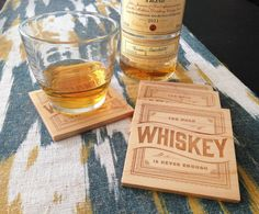 WHISKEY Wood Coasters  Laser Engraved by SLABSEATS on Etsy, $25.00