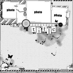 ScrapFriends - All about Scrapbooking: Sketches Scrapbook Layout Sketches, 12x12 Scrapbook, Scrapbook Templates, Scrapbook Designs, Card Sketches, Scrapbooking Layouts, Scrapbook Photos, Sketch 4, Photo Sketch