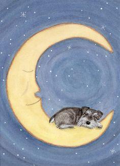 Schnauzer sleeping on Moon uncropped ears / by watercolorqueen, $12.99