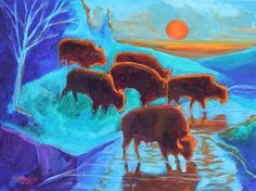 Western Buffalo Art Six Bison Sunrise painting T Bertram Poole shows bison emerging from the forest with the orange sunset behind casting a turquoise hue over the landscape illuminating the bison in silhouette as the interesting reflections dance on the creek water.