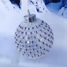 Beaded Christmas decoration white and purple christmas