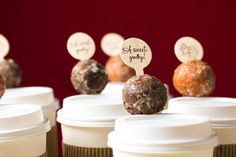 Best wedding idea for guests – Cups of hot to-go coffee with doughnut hole on top. #ExperienceMelitta