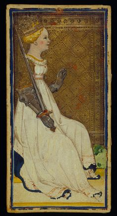 The Queens of Swords,  Bonifacio Bembo or family  Visconti-Sforza, Tarot Cards,  Italy, Milan, ca. 1450,  173 x 87 mm,  Purchased by Pierpont Morgan, 1911; MS M.630 (no. 23)