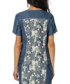 Blue & Ecru Deco Victoria Short-Sleeve Jacket - Women & Plus