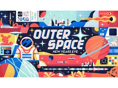 Outer Space designed by MUTI. Connect with them on Dribbble; the global community for designers and creative professionals. Space Illustration, New Year Illustration, Outer Space, Banner Design, Creepy, Posters, Drawings, Artwork, Painting
