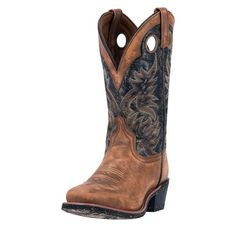 These authentic western black leather mens cowboy boots from Laredo feature a comfort cushion insole, cowboy heel, and square toe. Constructed from high quality materials, these boots are made to last