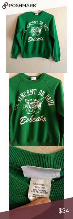 """Vintage Sweater Awesome vintage sports sweater. Not sure what sport, perhaps track and field. This thing is so retro! True green with """"Saint Vincent De Paul Bobcats"""" text. Size XS. Vintage Sweaters"""