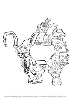 How to Draw Roadhog from Overwatch - DrawingTutorials101.com