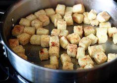 Kale Caesar Salad with Tofu Croutons & Kalamata Caesar Dressing ...
