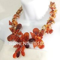 FREE SHIPPING Carnelian -Orange Agate Floral Bouquet Motif Necklace