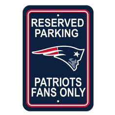New England Patriots Sign - Plastic - Reserved Parking - 12 in x 18 in