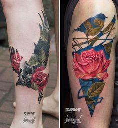 As tatuagens em dupla exposição de Andrey Lukovnikov – Sedentário & Hiperativo